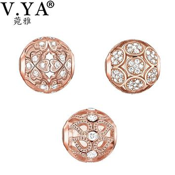 V YA Rose Gold Color Beads fit for Pandora Necklace Bracelet Women's Men's DIY Crystal Jewelry Fashion Charms for Lovers