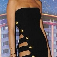 Black Gold Button Strapless Cut Out Side Sexy Bandage Bodycon Mini Dress