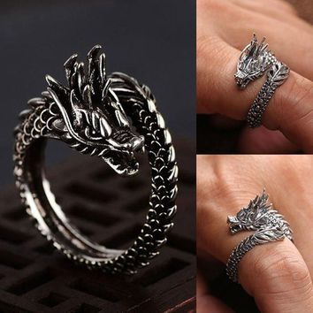 Free Shipping New Design Retro Adjustable Silver Dragon Ring For Men Women Personality Fashion Finger Opening Rings Dropshipping