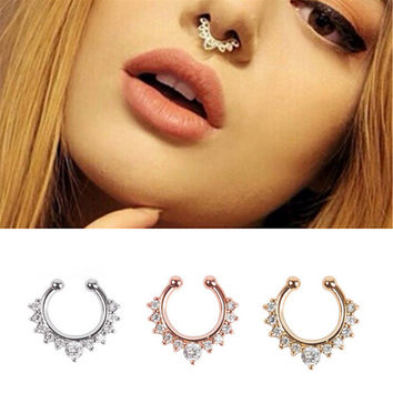New fashion Alloy Nose Hoop Nose Rings Body Piercing Jewelry Fake Septum Clicker Non Piercing Hanger Clip On Jewelry LLR140-148.