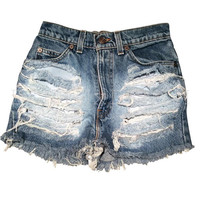 Shredded Vintage Levi Boyfriend Jean Shorts Denim Ripped Loose Fitting