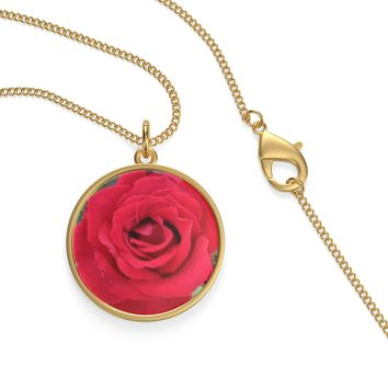 JUNE BIRTHDAY or ANNIVERSARY GIFT: Red Rose Necklace by PonsART $26.00+