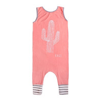 """Rags to Raches """"Cactus"""" Tank Romper - Coral"""