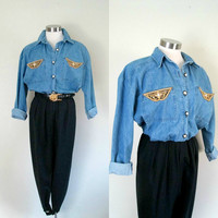 Avant Garde Denim Stirrup Pants Jumpsuit / Vintage Catsuit Romper Jumper / Eighties Retro 1980s Vintage