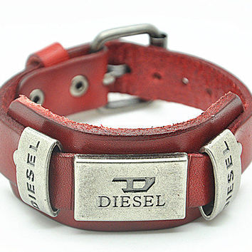 Real Wine Leather DIESEL Bracelet Women's Leather Bangle Bracelet, Men's Leather Cuff Bracelet, Unisex Leather Bracelet  SZ0059