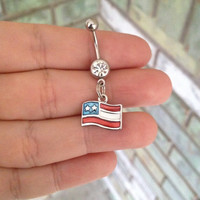 American Flag Belly Ring