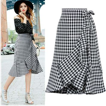 N.XINZHE Vintage plaid skirts summer Ruffles Bandage Mermaid Women Skirt 2018 High Waist Knee-Length Skirts Female Skirt