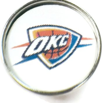 NBA Basketball Logo Oklahoma City Thunder 18MM - 20MM Fashion Snap Jewelry Snap Charm New Item