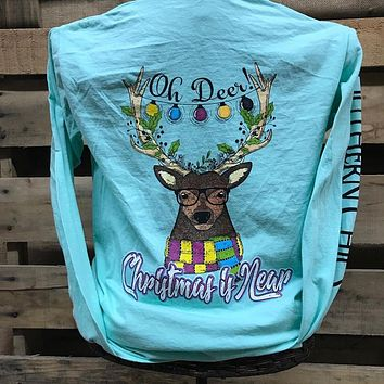 Southern Chics Oh Deer Christmas is Near XMAS Comfort Colors Girlie Bright Long Sleeve T Shirt