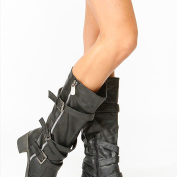 Bamboo Black Faux Leather Biker Boots