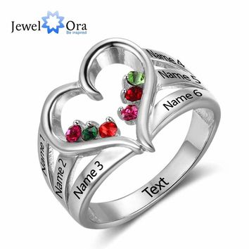 New 925 Sterling Silver Birthstone Ring Engrave Name Engagement Rings Love Heart Shape Rings Free Gift Box JewelOra RI102734