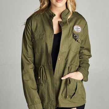Women's Zippered Standing Collar Military Patch Utility Jacket