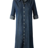 LE3NO Womens Classic Loose Fit Long Sleeve Chambray Jean Denim Shirt Dress (CLEARANCE)