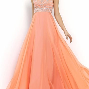 Chiffon A-Line Prom Dresses Cross Back Sparkly