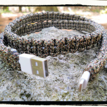 New 10ft Camo iPhone Paracord Wrapped Charger