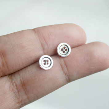 925 Sterling Silver Buttons Stud Earrings, Button post earrings, tiny stud earrings, everyday jewelry, small button earrings, gift for her
