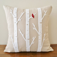 Birch Tree w/ Cardinal Linen Cushion Cover by sarahsmiledesign