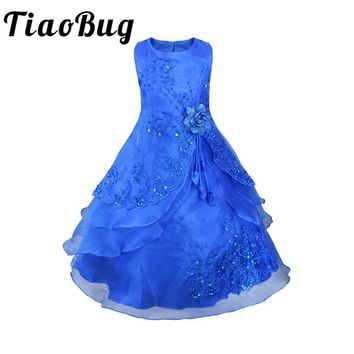 TiaoBug Kids Girls Embroidered Flower Girl Dresses Formal Princess Party Gown for Children Prom Gown Wedding Tea-Length 4-14Y