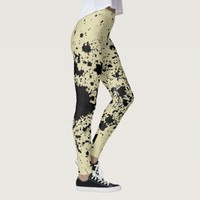 Grunge abstraction, black and yellow splashes dots leggings