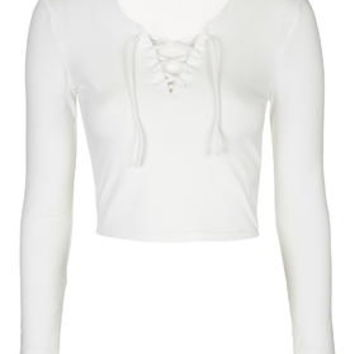 Tie Front Top - White
