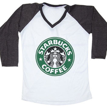 Starbucks Art V Neck Baseball Tee Shirt Raglan Long Sleeve T Shirts Size S,M,L