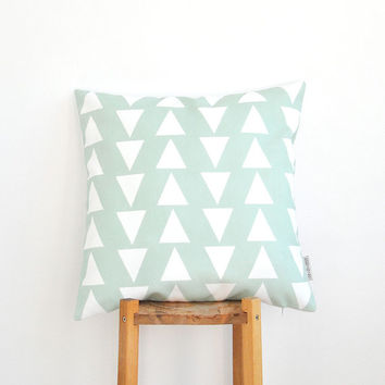 "Geometric Mint Decorative Pillow, Teen Pillow, Modern Kids Pillows, Nursery Pillow, Throw Pillow 16"" x 16"""