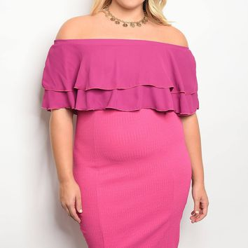 Womens Off-Shoulder fitted bodycon dress ruffle