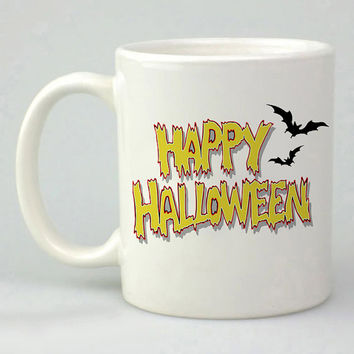 happy halloween font logo design for mug, ceramic, awesome, good,amazing