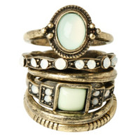 LOVEsick Burnished Gold & Mint Ring Set