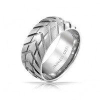 Unisex Mens Stainless Steel Modern Tire Tread Sport Ring