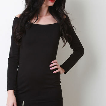 Zipper Accent Off The Shoulder Dress