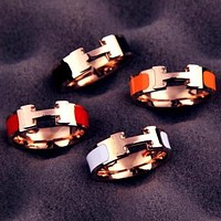 "Hot Sale ""Hermes"" Classic Popular Women Men Chic H Letter Titanium Steel Couple Ring Accessories Jewelry"