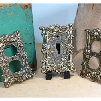 Ornate Metal Outlet & Light Switch Covers . Vintage . Antique Gold Decorative • Circa 1960s . Hollywood Regency . Roses . Amertac