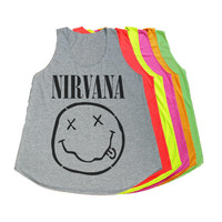 NIRVANA Shirt Drunk Smiley Face Tank Top T-Shirt Women TShirts Grey Green Pink Orange Size S M