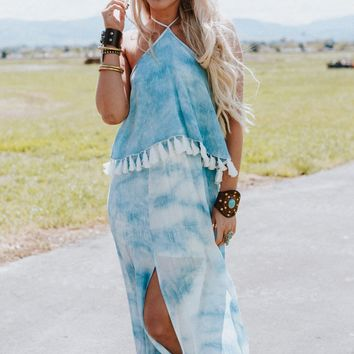 Ready To Wonder Tie Dye Maxi Dress - Blue