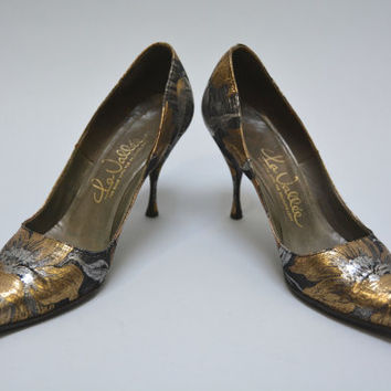 Metallic 50s Stilettos - Vintage Fifties Gold Silver Black Floral Brocade Pointy Toe High Heels Super Sexy Evening Shoes by La Vallee