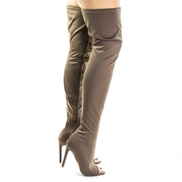 Connely8a Taupe By Liliana, Peep Toe High Stiletto Heel, Over Knee, Thigh High Dress Boots