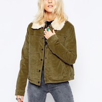 Free People Cord Faux Sherling Jacket