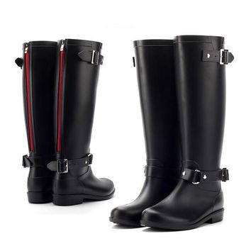 PVC Women Rain Boots Girls Ladies Rubber Shoes For Casual Walking Hunting Hunter Outdoor Mid-calf Waterproof Female Low Heels