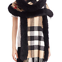 Burberry - Fox-Fur-Trimmed House Check Cashmere Scarf - Saks Fifth Avenue Mobile