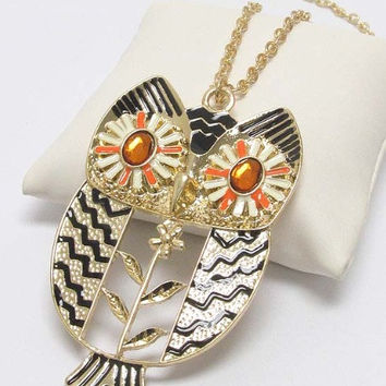 Cream and tangerine accented large owl deco necklace