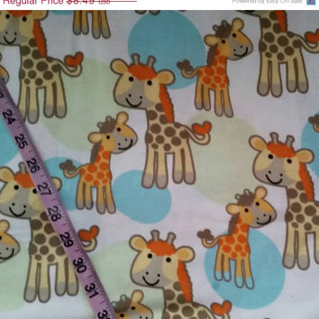 Baby Flannel fabric with giraffes kids children giraffe  cotton quilt quilting sewing material to sew for crafting by the yard