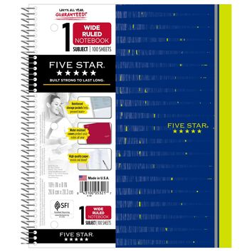 Patterned Spiral Notebook 1 Subject Wide Ruled - Five Star