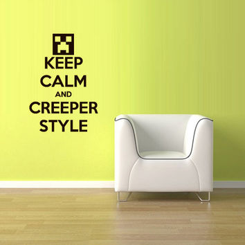 Wall Vinyl Sticker Decals Decor Art Words Sign Quote Keep Calm Minecraft Play Creeper Video Game (z2591)
