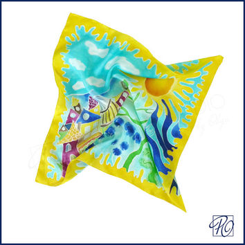 Silk Scarf Multicolor, Hand Painted Scarf Square, Bandana Scarf