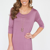 Beloved 3/4 Sleeve T-Shirt Dress - Mauve
