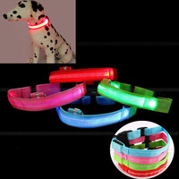 Pets Puppy Dogs LED Collar Light-up Flash Night Safety Nylon S M L Adjustable