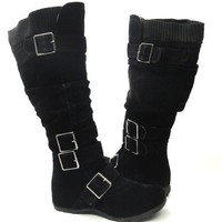Womens Knee High Faux Suede Flat Winter Buckle Boots Black