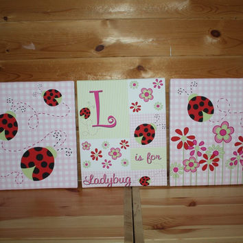 Set of 3 Girly Red Ladybug Girls Stretched Canvases Kids Bedroom Baby Nursery CANVAS Bedroom Wall Art 3CS020