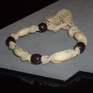 Custom Size Thick Hemp and Wood Bracelet by OriginalAccents